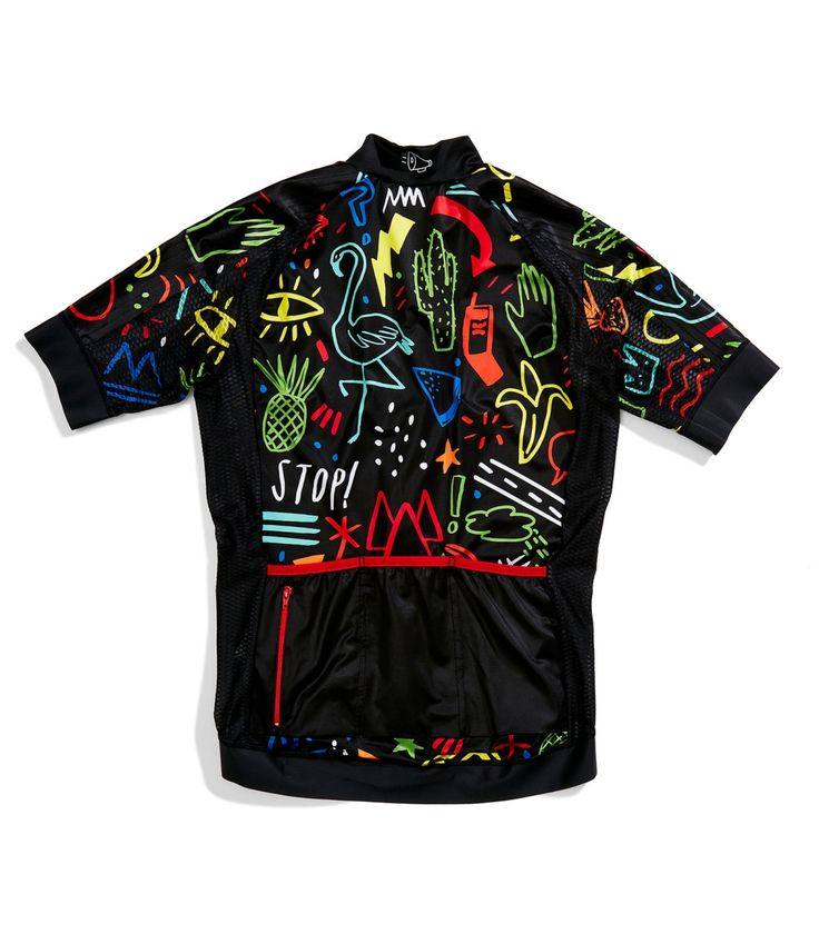 The rear of the full on bonzo Outrider Convo Cycling Jersey. Love, love it.