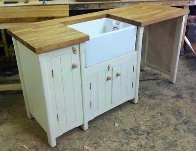 Bespoke Pine Freestanding Belfast Butler Sink Unit Oak Top Kitchen Utility Room
