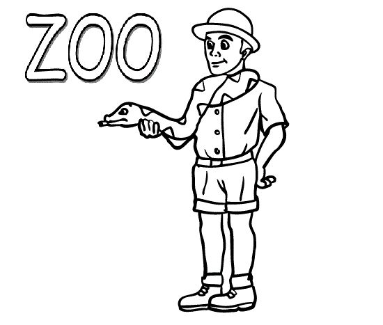Zoo Keeper With Snake Coloring Pages For Kids Printable