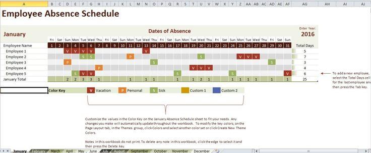 employee attendance tracking calendar excel template