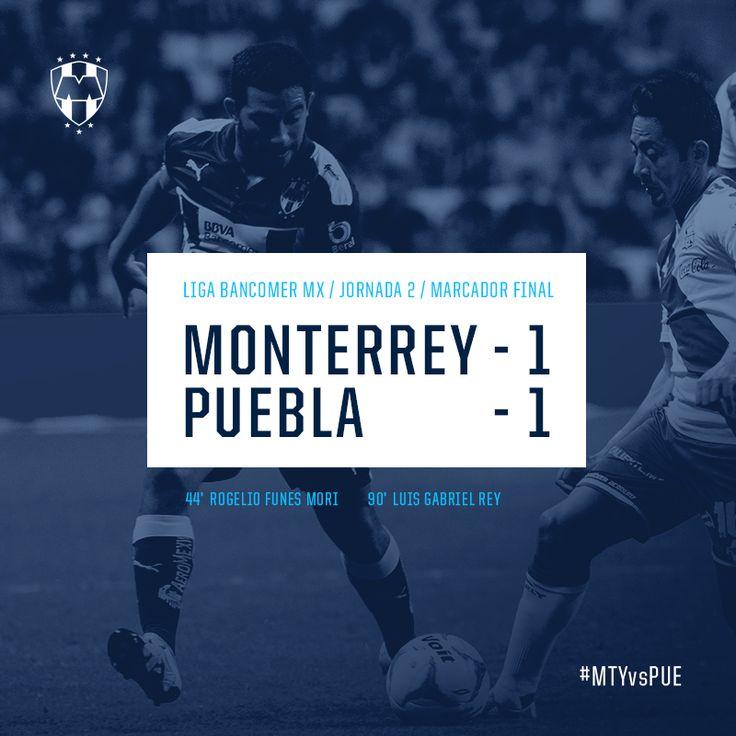 Finaliza el encuentro de la Jornada 2 en la LIGA Bancomer MX Marcador: Club de Futbol Monterrey 1-1 Puebla F.C