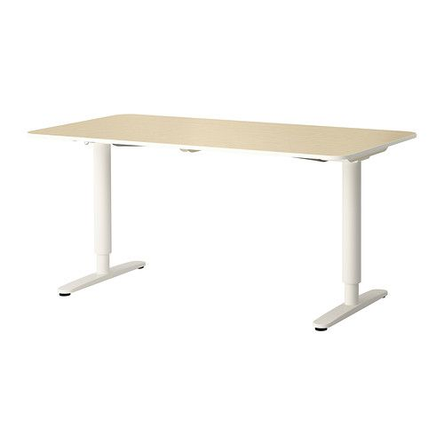 "IKEA - BEKANT, Desk sit/stand, birch veneer/white, , 10-year Limited Warranty. Read about the terms in the Limited Warranty brochure.You can adjust the height of the table top electrically from 22"" to 48"" to ensure an ergonomic working position.Changing positions between sitting and standing helps you both feel and work better.The veneer surface is durable, stain resistant and easy to keep clean.It's easy to keep your desk neat and tidy with the cable management net under the table top.Deep…"