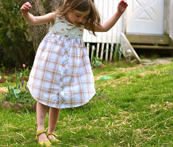 Geranium dress pattern made with an upcycled mens button down shirt
