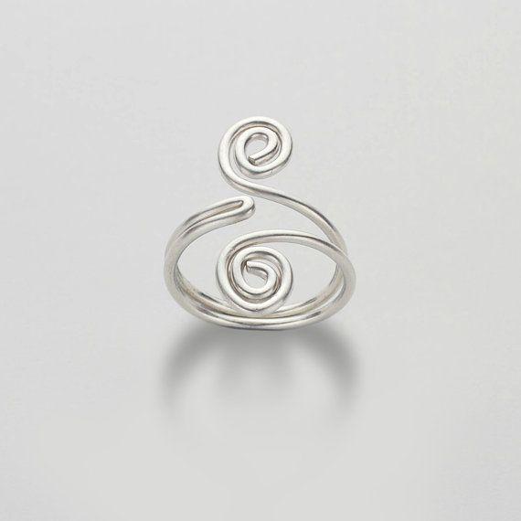 Swirl-Silberring, umschlossenen Spiralen, verstellbarer Ring, Sterling Silber Midi Ring Wirbel Schmuck, Draht, Draht Arbeit
