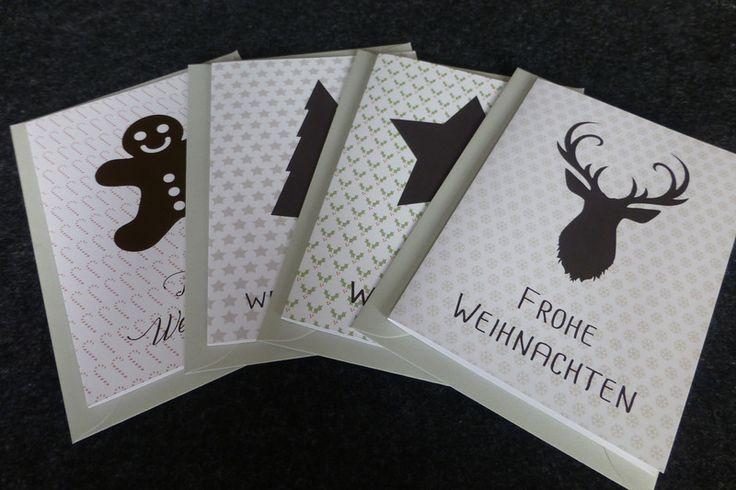 Weihnachtskarten - Weihnachtskarten Set (4 Karten) inkl. Umschläge - ein Designerstück von Motschico bei DaWanda