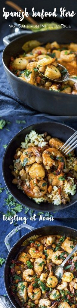Spanish Seafood Stew with Chorizo and Saffron infused rice...an easy flavorful healthy dinner!   www.feastingathome.com