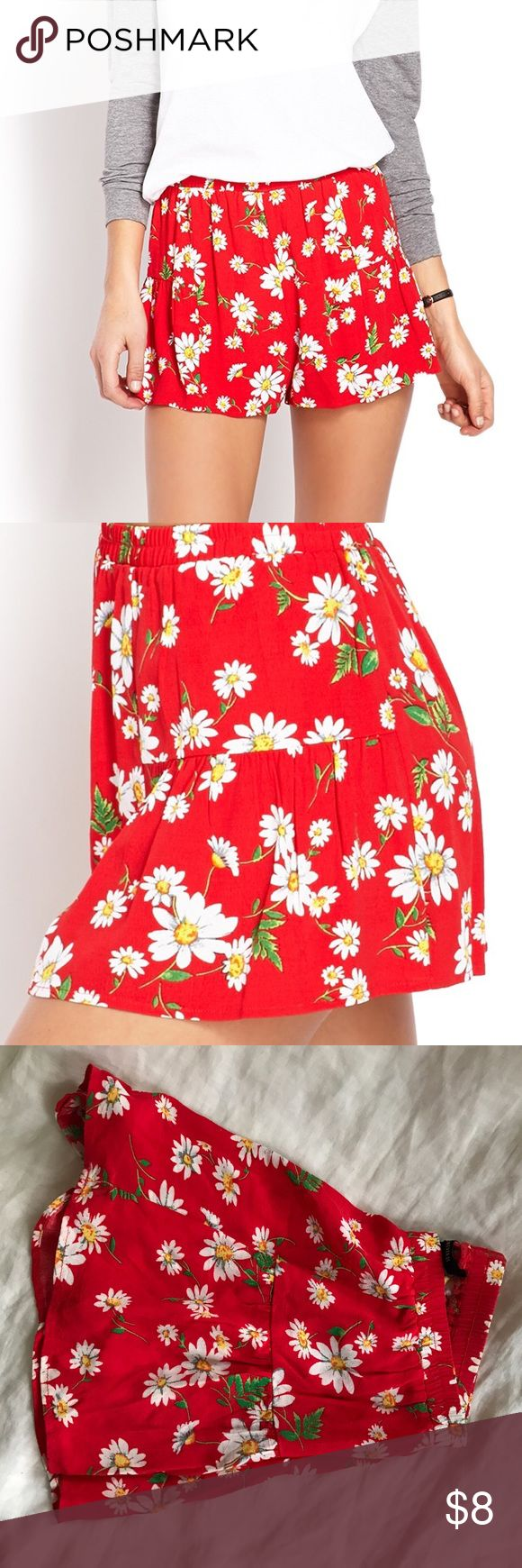 Red daisy shorts Worn only a few times, perfect condition! Says large but fits more like a medium. Forever 21 Shorts