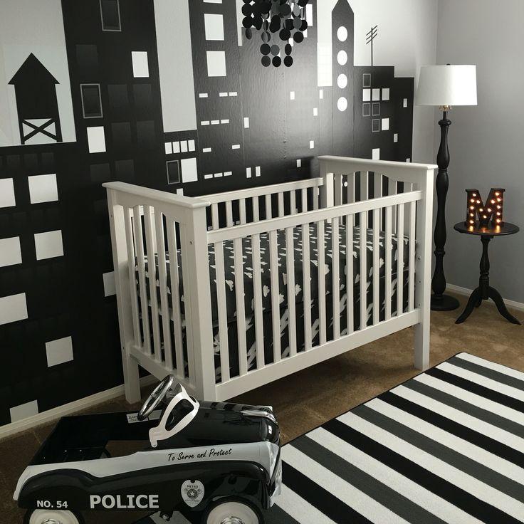 Black and white police nursery.