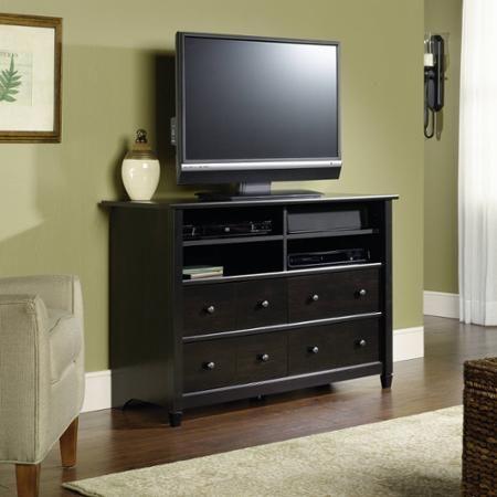 "Sauder Edge Water Tall TV Stand for TVs up to 45"", Estate Black - Walmart.com"