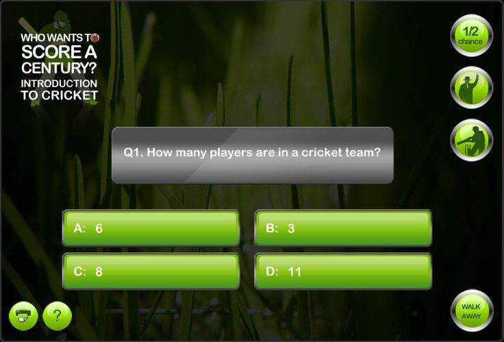 Who Wants to Score a Century? Interactive quiz based on a popular television programme with a sports theme. Created by Genieseye.