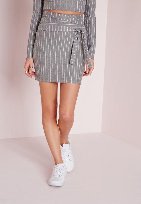 High Waist Tie Pinstripe Mini Skirt Grey - Skirts - Co-Ords - Missguided