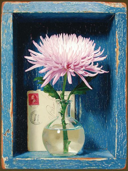 Trompe l'œil Cubby with Mum in Vase, and Letter, Debra Teare