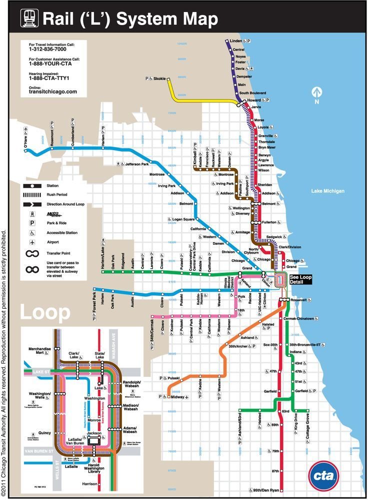Cta Subway Map Chicago.Cta Loop System Map Chicago Il Usa Chicago In 2019 Chicago