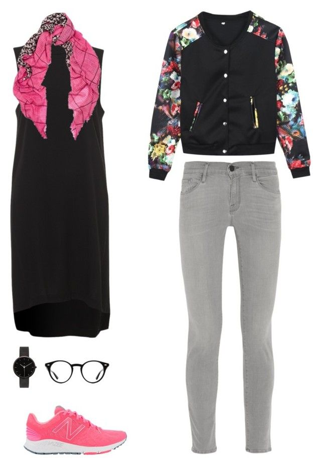 """Untitled #68"" by priliscaa on Polyvore featuring Frame Denim, Mercy Delta, New Balance, I Love Ugly and Ray-Ban"