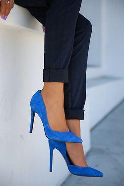pretty blue high heel pumps
