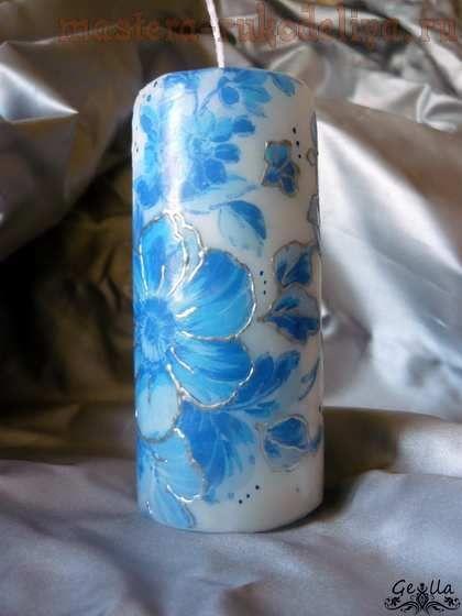 Мастер-класс по декупажу на свечах: Синие цветы