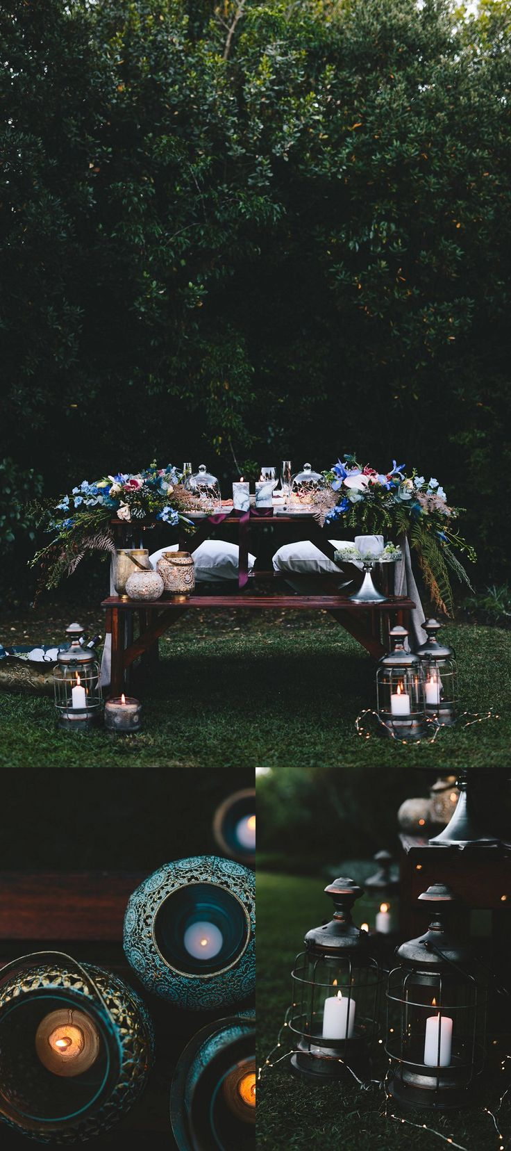 Cobus & Kat's Picnic style, Forest elopement | reception picnic table set up with beautiful winter blue, grey & burgundy flowers. Lanterns, marbles candles & fairy lights finish it off