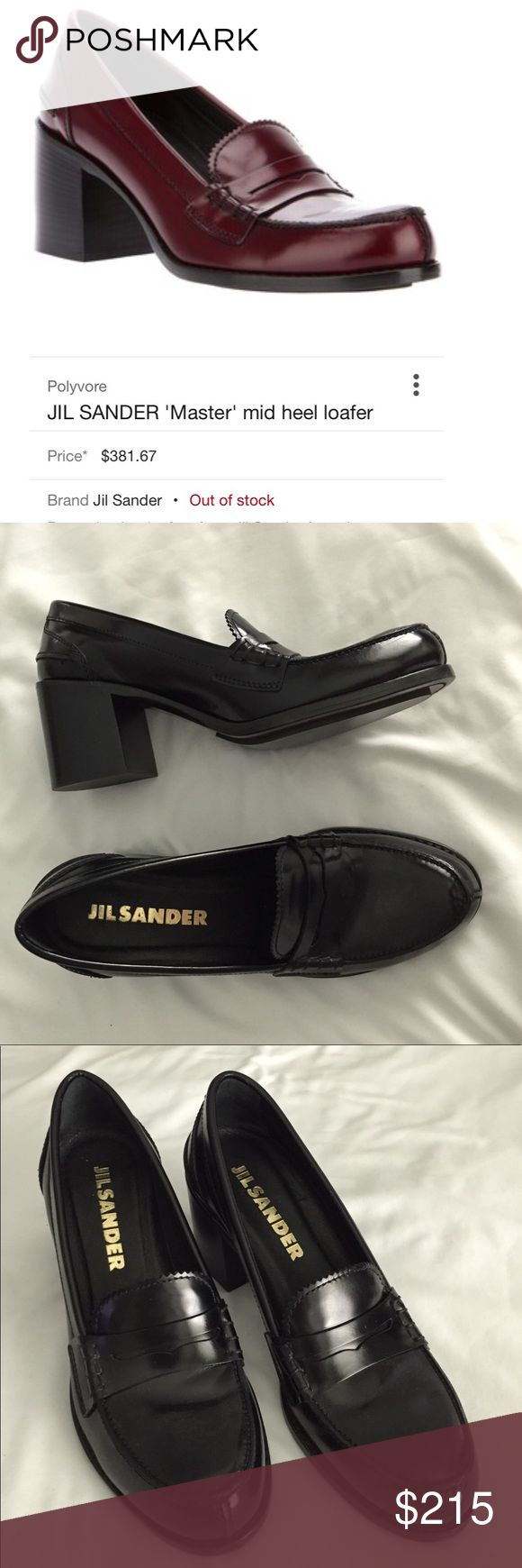 """Jil Sandler """"MASTER"""" black leather loafer NEW Gorgeous! Retail $400 - brand new. Purchased at Bloomingdales and fell in love but they are just too small. Size 37 = 7. Jil Sander Shoes Heels"""