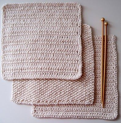 Crochet Patterns Using Cotton Thread : Cotton yarn, 3 different kinds of knitted cloths to use instead of ...