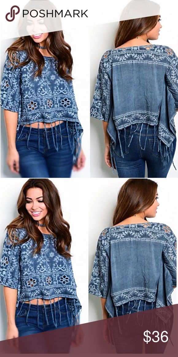 The Bella Crochet & Fringe Top, NWT This beautiful crochet top features fringe around the hem &figure flattering batwing sleeve. Color is a denim blue. Very unique! Tops