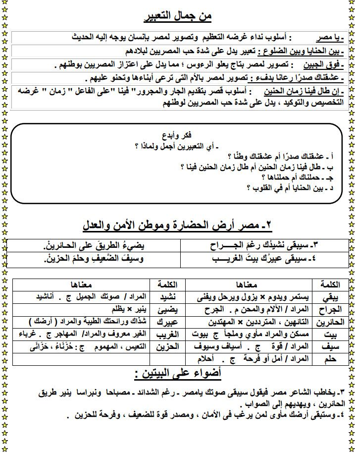 مذكرة لغة عربية للصف الأول الإعدادي الترم الأول Sheet Music Exam