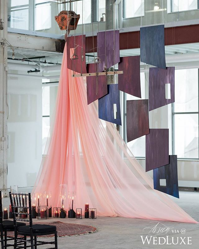 """ceremony backdrop inspired by  Francis Bacon's """"1946"""" painting :: photography by: Cadence and Eli"""