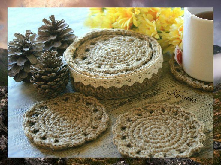 Posavasos y cesta tejidos a crochet con cuerda de yute - Cesta de cuerda y ganchillo ...