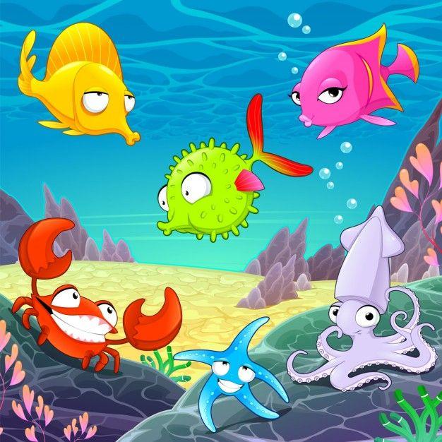 animais felizes engraçados sob os desenhos animados do vetor mar ilustrações Vetor grátis