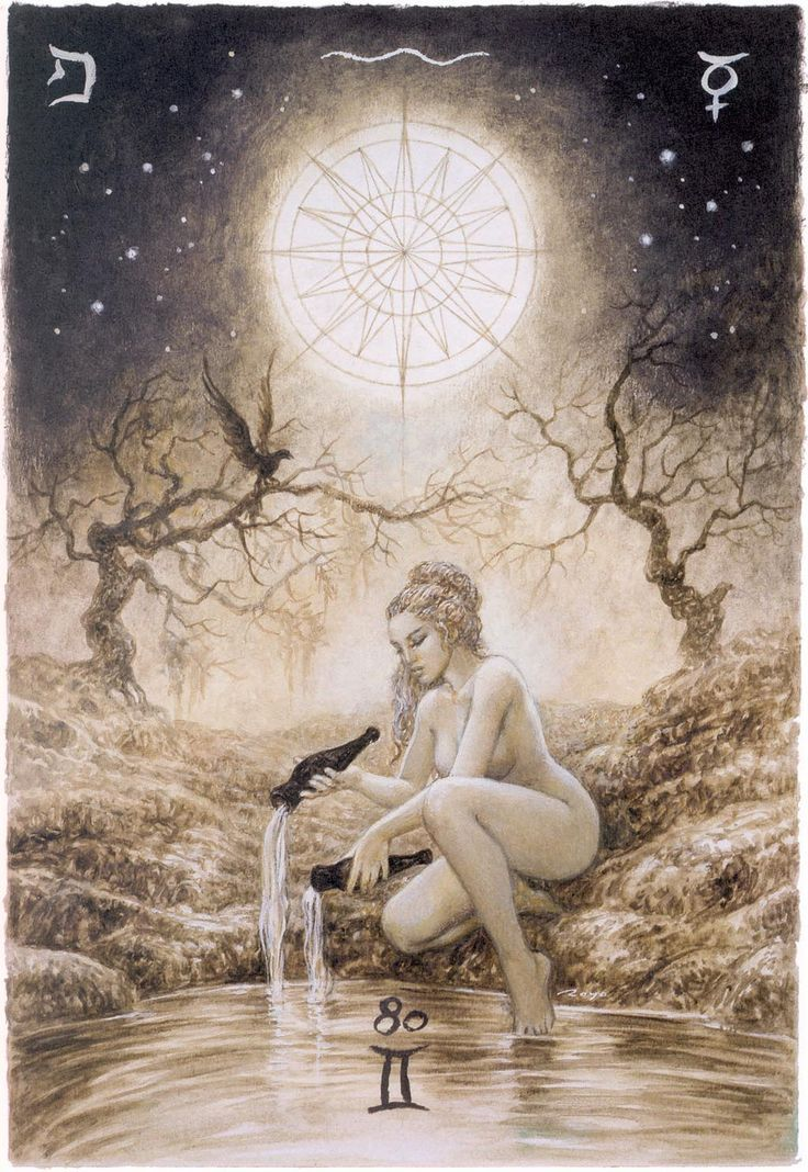 """Major Arcana: The Star by Spanish artist Luis Royo, known as an illustrator of books fiction genre, released """"Labyrinth Tarot"""""""