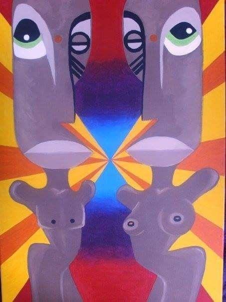 Mes premiers coups de pinceaux-peinture africaine