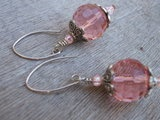 Pink Bling Faceted Globe Earrings Sterling Silver and Glass