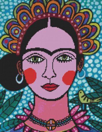 Frida Kahlo Heather Galler'in Frida Kahlo adlı çapraz ilmek kiti, çapraz dikiş, modern çapraz dikiş sayılır