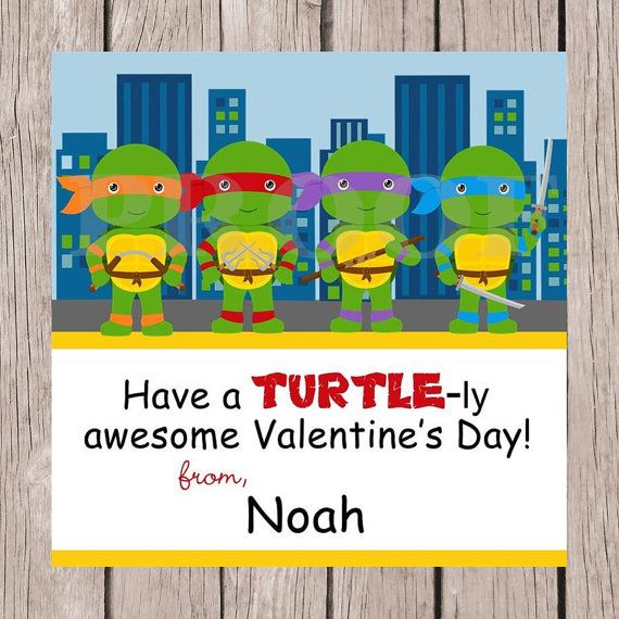 PRINTABLE Personalized Ninja Turtles Valentine Favor Tags - You Print, Have a Turtle-ly Awesome Valentine's Day