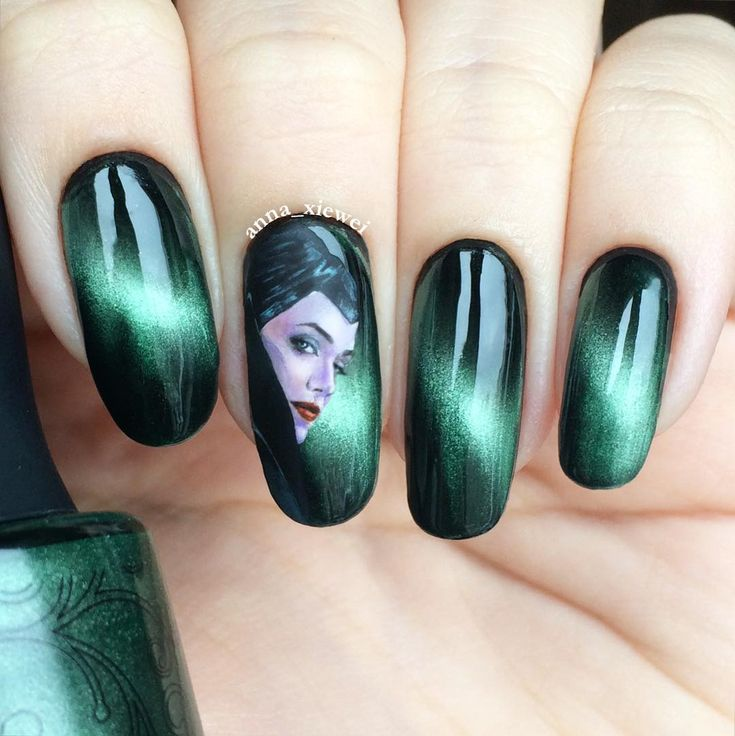 Maleficent Nail Art Inspiration Source Instagram #NailArt #Manicure #Mani #Maleficent #Dragon #DragonLady #SleepingBeauty #Aurora #Disney #Disneyland #DisneyWorld #WDW #Custom #Disnerd #MagicKingdom #DisneyFan