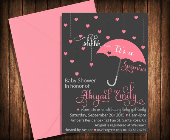 Surprise Baby Shower Invitation // Printable // Umbrella // Raindrops // Shower // Hearts // Baby // Invite