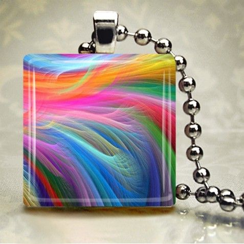 Rainbow Breeze  Glass Tile Pendant AAP1E2 by freetobemecreations