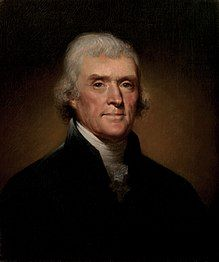 Thomas Jefferson (1743 – 1826). American politician,  the principal author of the Declaration of Independence and President of the United States.