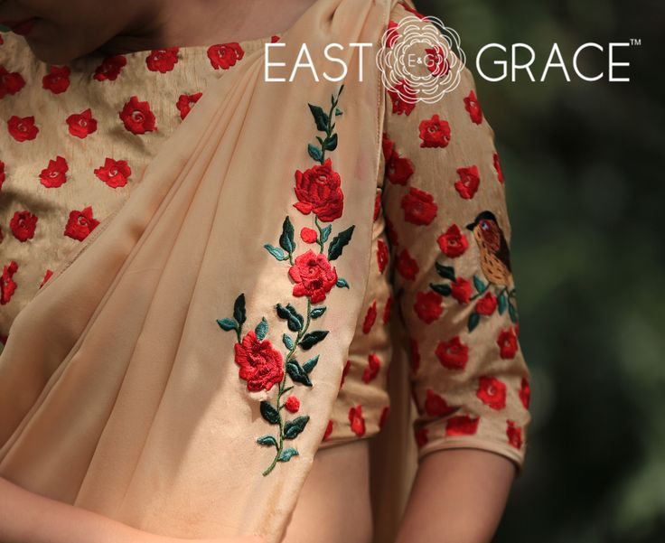 PRICE: INR 5,973.00; USD 90.50 To buy click here: https://www.eastandgrace.com/products/morning-sunshine Featuring a warm morning sunshine colored pure chiffon saree with a single climbing red rose vine on the pallu. It comes with an unstitched raw silk blouse with handcrafted red rose motifs and sparrows on branches on the sleeves and back. For help reach us at care@eastandgrace.com. With love www.eastandgrace.com
