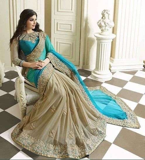 Buy Bindani studio peacock blue color party wear saree Online India - 5153591