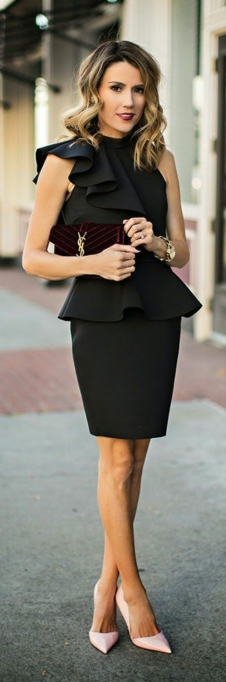 The Overlooked Statement Piece - Black peplum dress, Burgundy velvet clutch, Pink patent heels by Hello Fashion