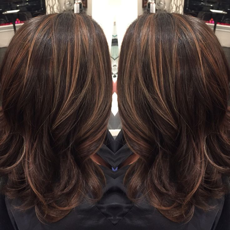 Dark brown hair with caramel highlights and midlength hair cut by Liz @salonink # saloninksd
