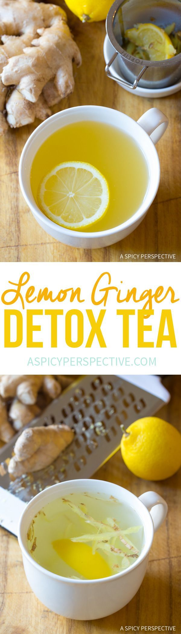 The BEST Lemon Ginger Detox Tea Recipe via @spicyperspectiv