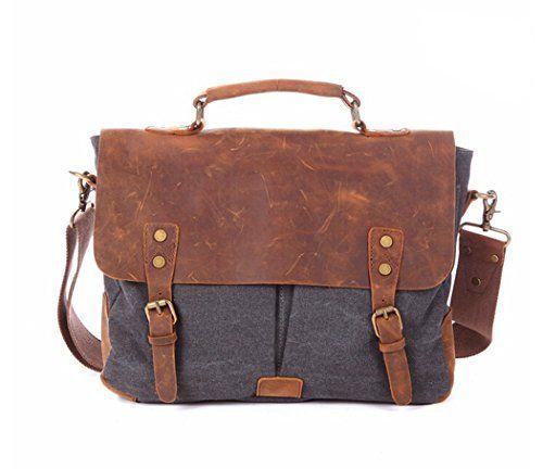 Fashion Plaza Herren Leder mit Leinwand Umhängetasche Tasche Mann Business Casual Laptop Bag Aktentasche C5068 (grau)