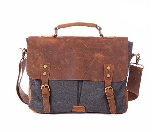 Fashion Plaza Herren Leder mit Leinwand Umhängetasche Tasche Mann Business Casual Laptop Bag Aktentasche C5068 (grau)