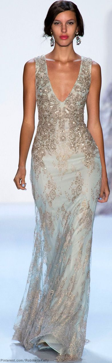 Badgley Mischka | S/S 2014.  women's fashion and runway style.  beaded gown.  formal dress.