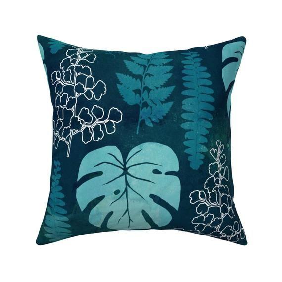 Jungle Throw Pillow Dark Green Teal Tropical Leaves By Etsy Jungle Throw Pillows Throw Pillows Square Throw Pillow
