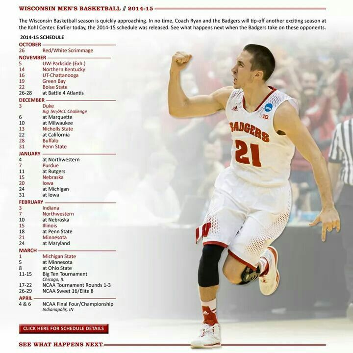 Badgers 2014/15 Schedule