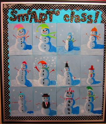 Oil pastel snowmen - an art lesson in value