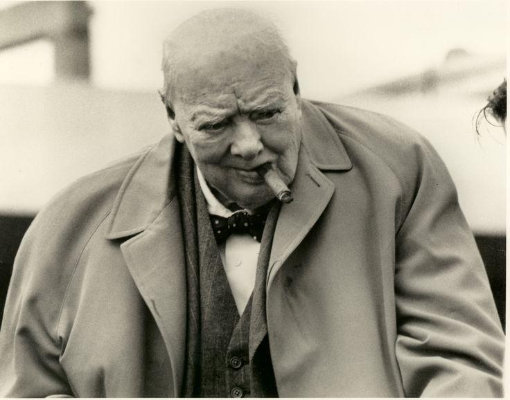Prime Minister Winston Churchill in an acuascotum coat