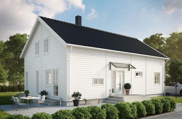 Villa Eksjö är ett hus med förhöjt väggliv om 164,2 m2. Entréplanet har en modern, öppen planlösning mellan vardagsrum och kök. I husets andra halva ligger det stora sovrummet nära både badrum och klädvård. Här finns även ett mindre sovrum som kan husera gäster eller bli kontor. #smålandsvillan #villaeksjö #hus #bygganytt #nybyggnation #inspiration #hustillverkare